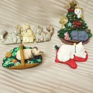 Four Resin Cat ornaments